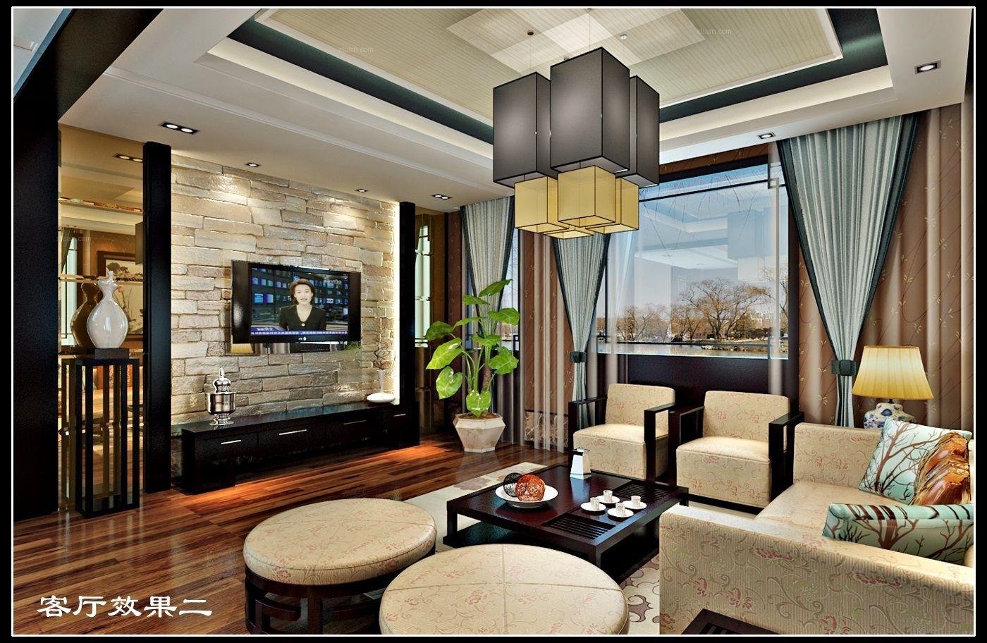 獨棟別墅中式風格臥室電視背景墻