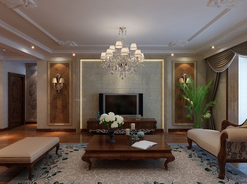 三居室欧式风格客厅电视背景墙图片