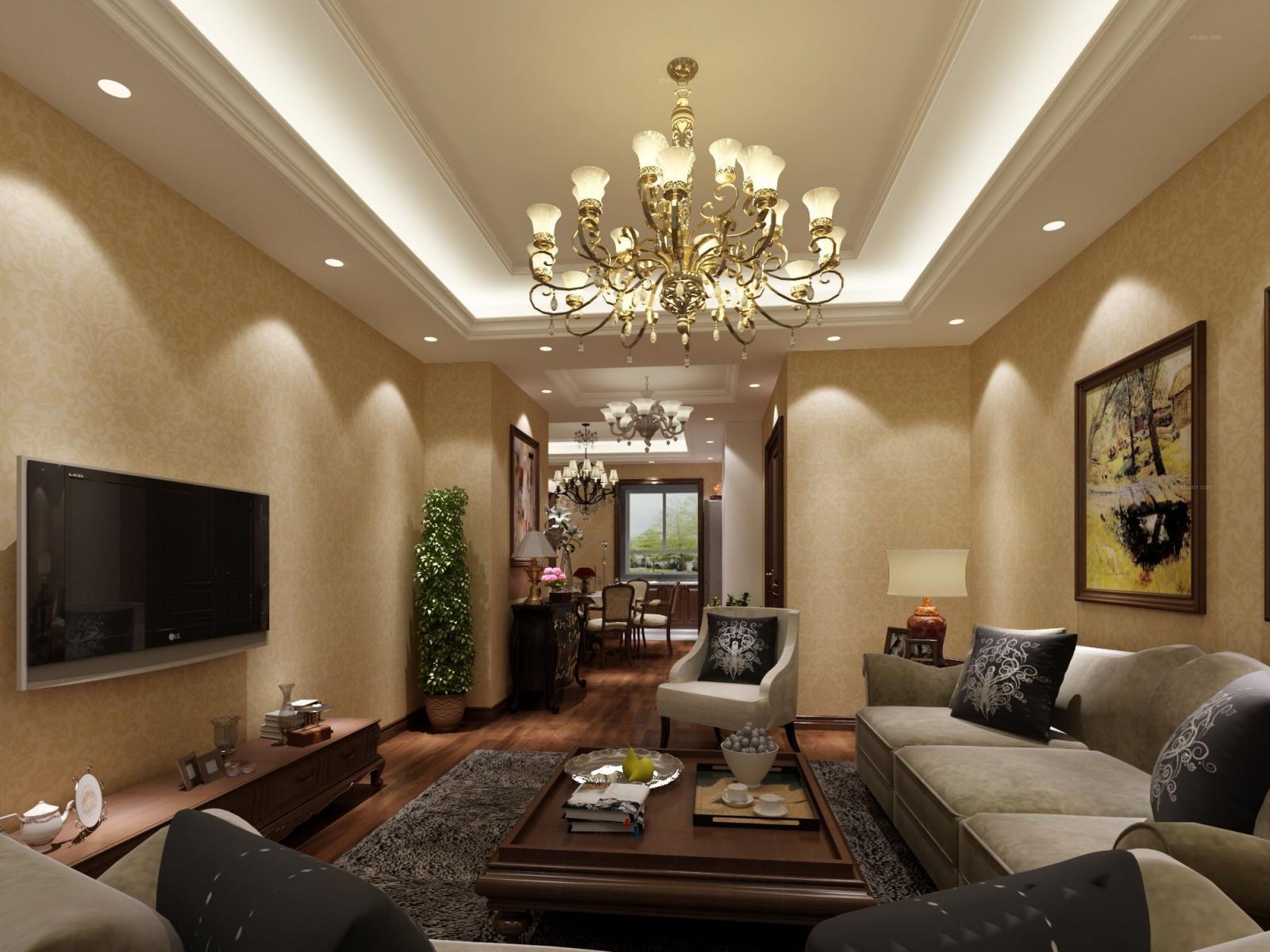 三居室欧式风格客厅_碧桂园凤凰城装修效果图-x团装修图片