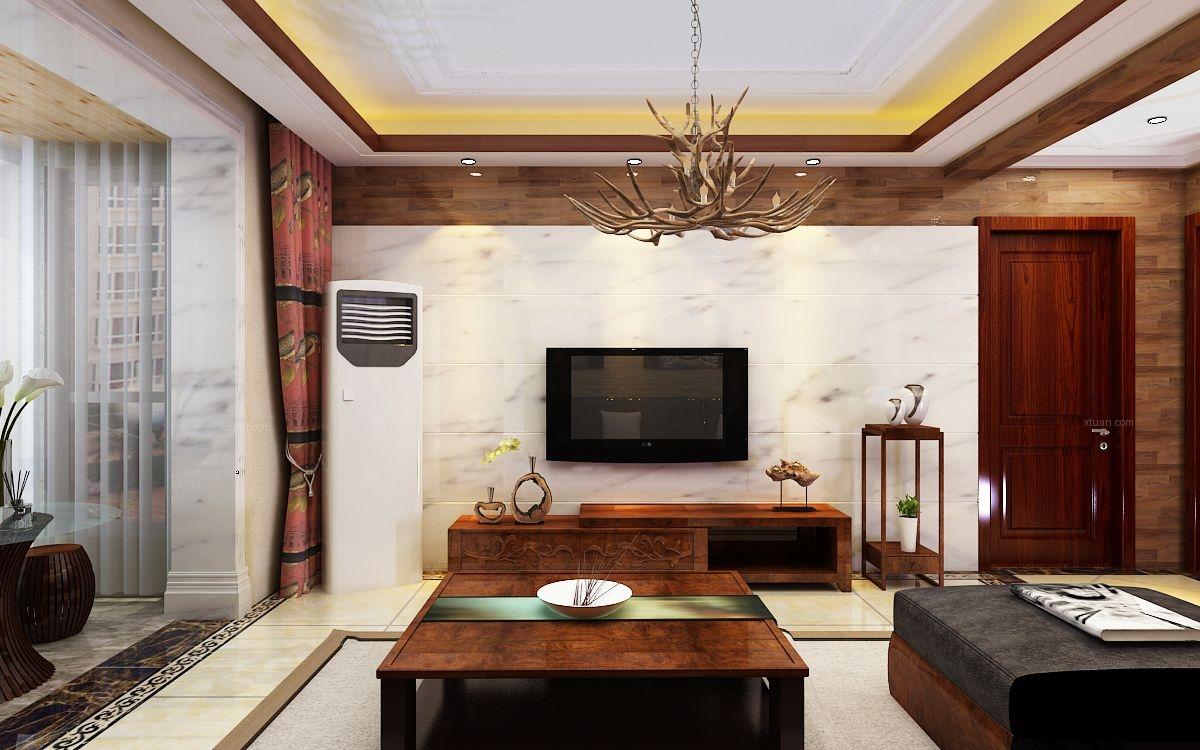 三居室东南亚风格客厅