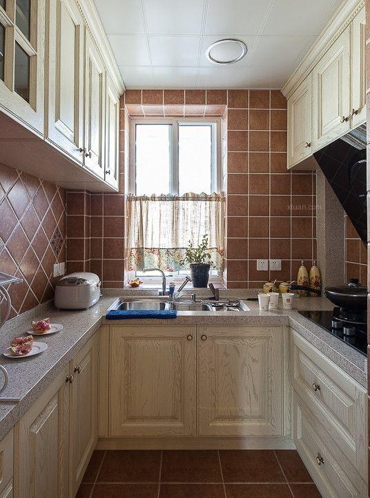 两居室田园风格厨房开放式厨房