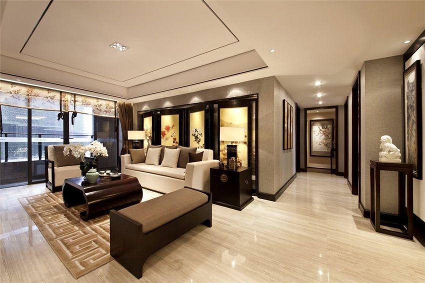 别墅中式风格客厅_现代风格别墅中式装修效果图