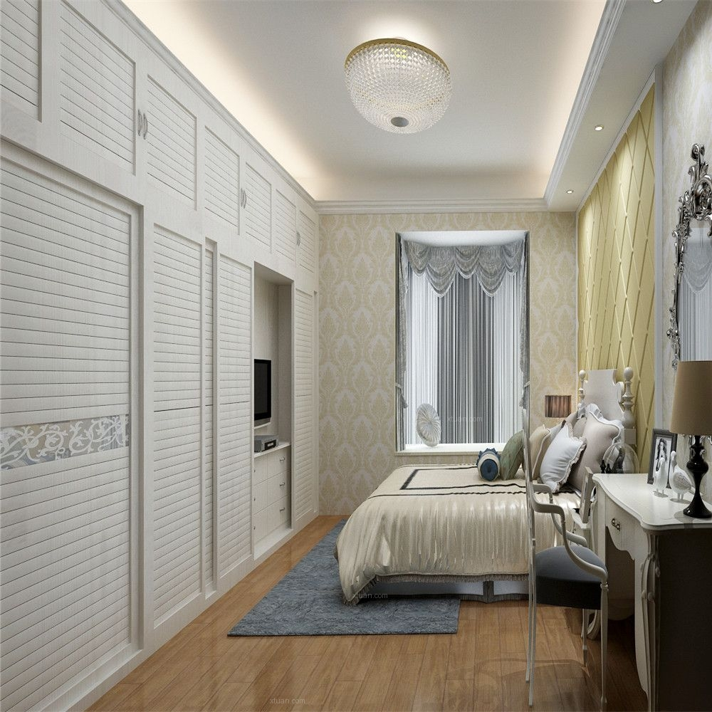 两室两厅简欧风格主卧室家庭影院图片