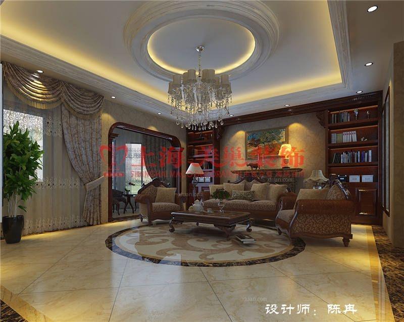别墅美式风格客厅_森林半岛300平美式风格装修效果图