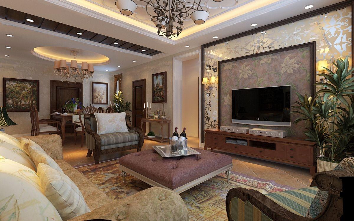 三室两厅美式风格客厅_宋都西湖装修效果图图片