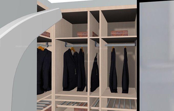 三室一厅简欧风格衣帽间隐形门