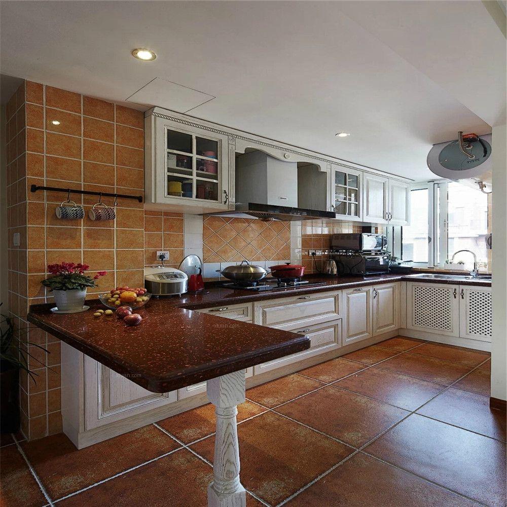 两居室美式风格厨房开放式厨房