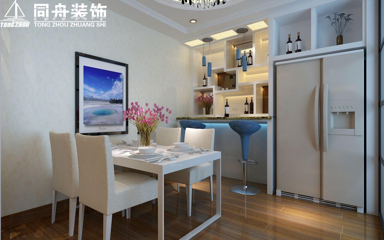 三室两厅简欧风格餐厅开放式厨房图片