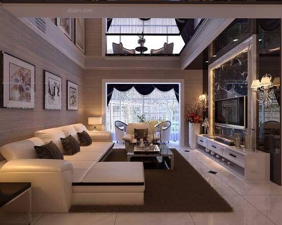 跃层现代简约客厅电视背景墙
