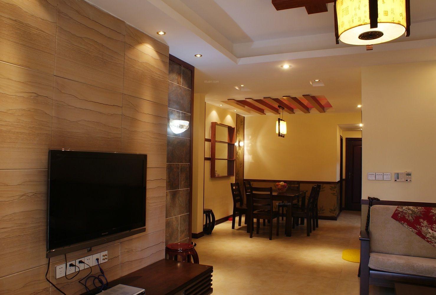 跃层中式风格客厅沙发背景墙图片