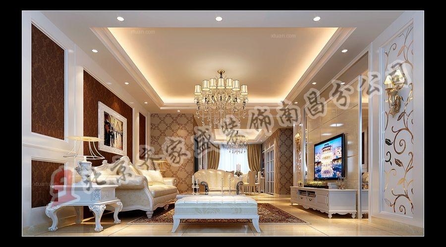 复式楼简欧风格客厅_象湖桃源复式240平装修效果图-x图片