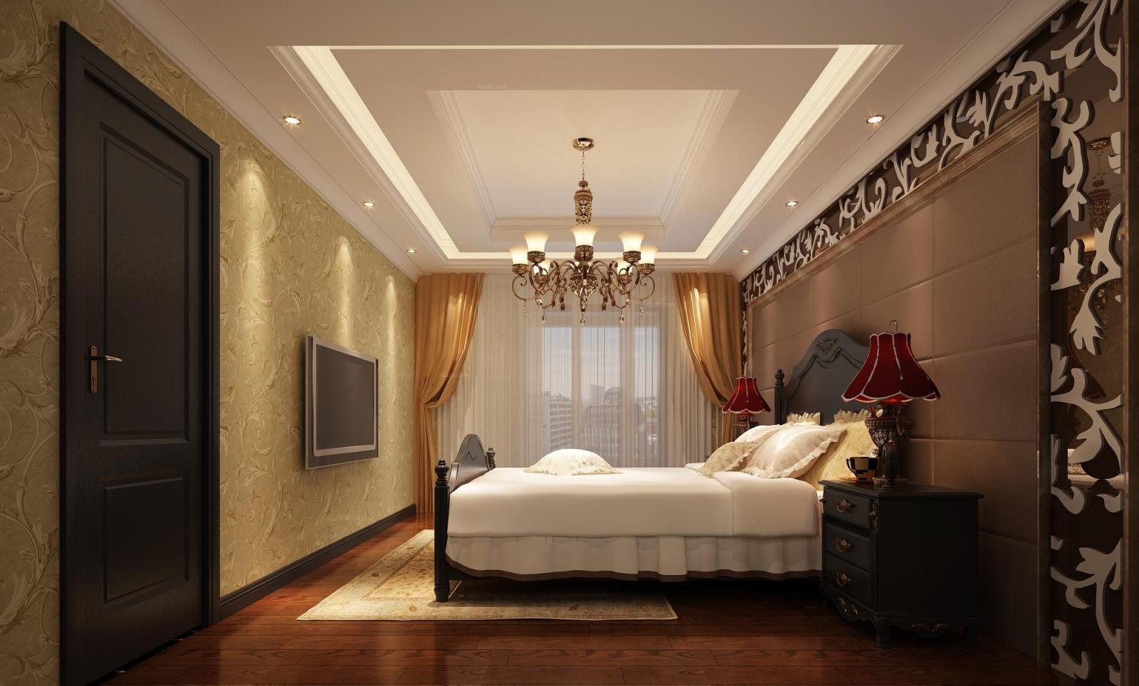 联排别墅美式风格卧室卧室背景墙