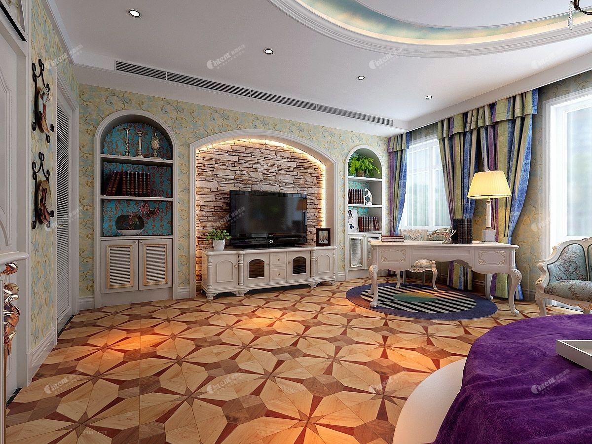 别墅欧式风格书房电视背景墙