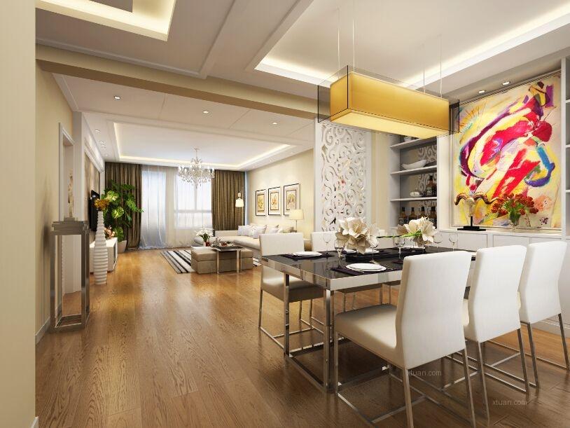 三居室简约风格餐厅墙绘