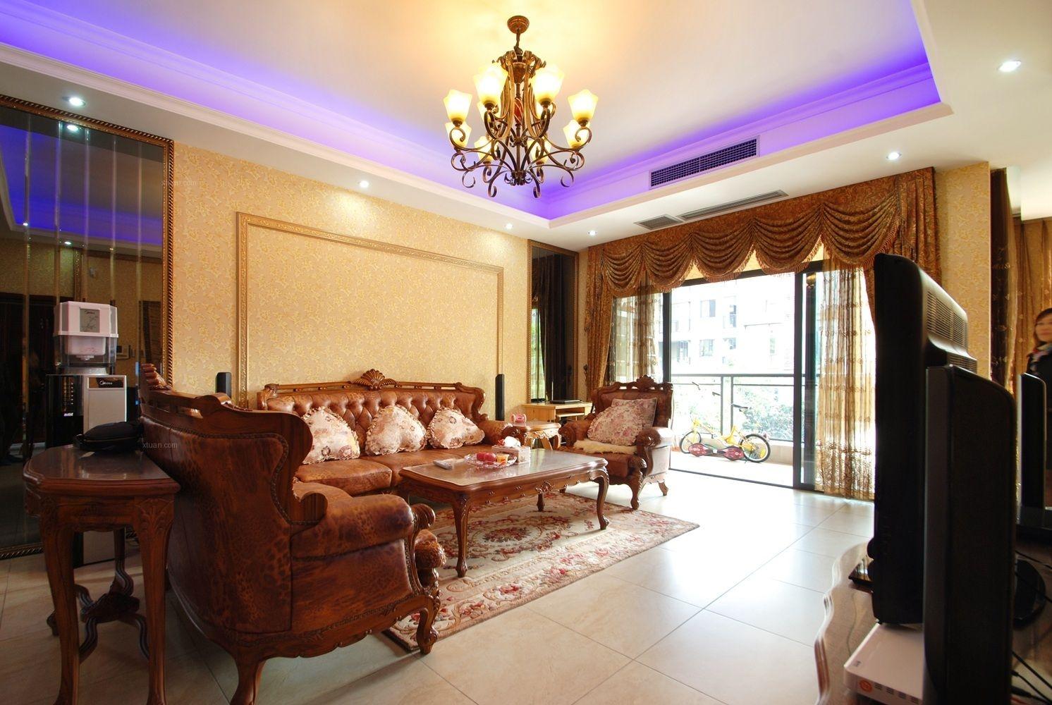 四居室混搭风格客厅沙发背景墙