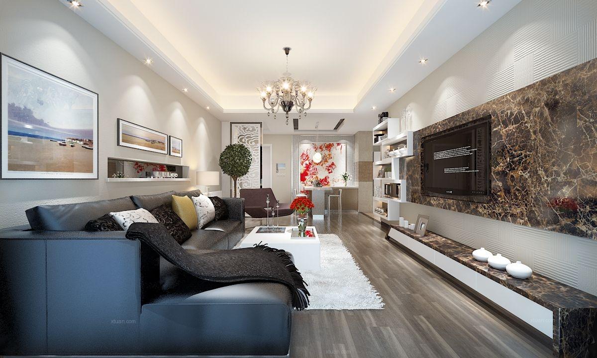 两室一厅现代风格客厅
