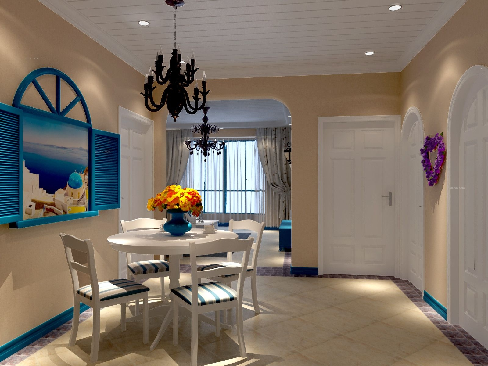 两室一厅地中海风格餐厅客厅隔断