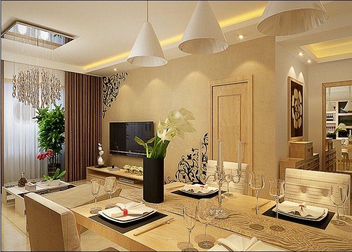 两居室现代简约餐厅开放式厨房