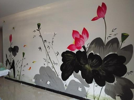 太原蓝鑫花园小区手绘墙画荷花图装修效果图-x团装修