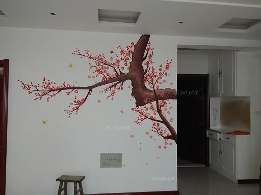 太原集祥美地小区手绘电视墙画梅花图装修效果图