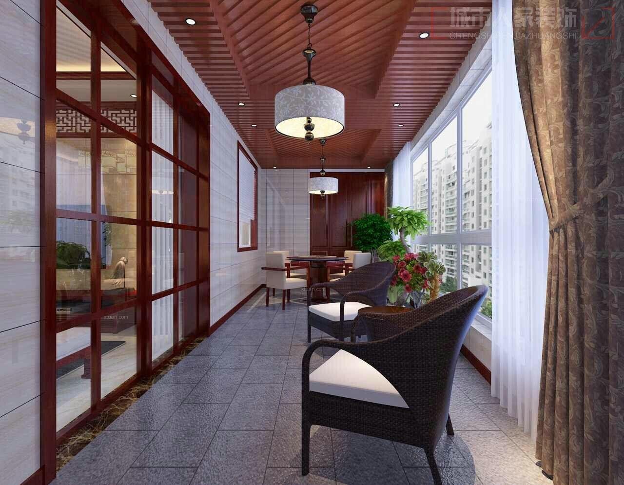 三居室中式风格阳台图片