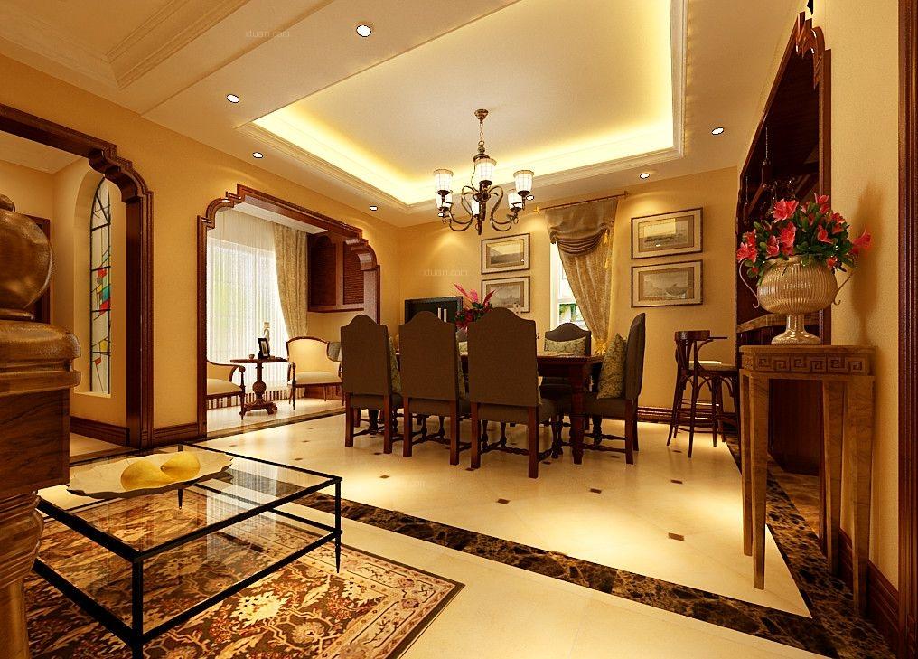 别墅美式风格客厅_龙湖滟澜山350平装修效果图-x团图片