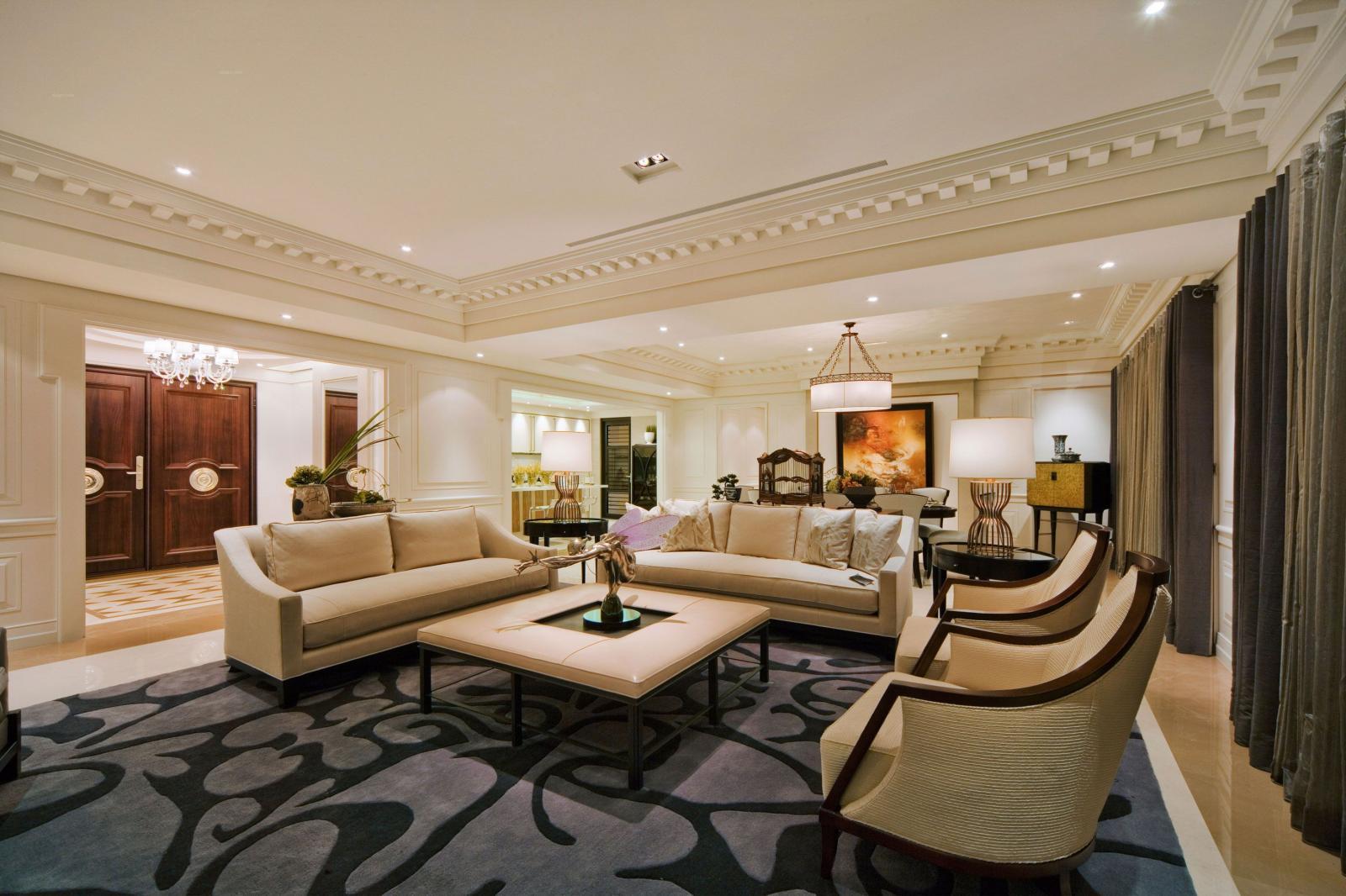 四居室古典风格客厅沙发背景墙