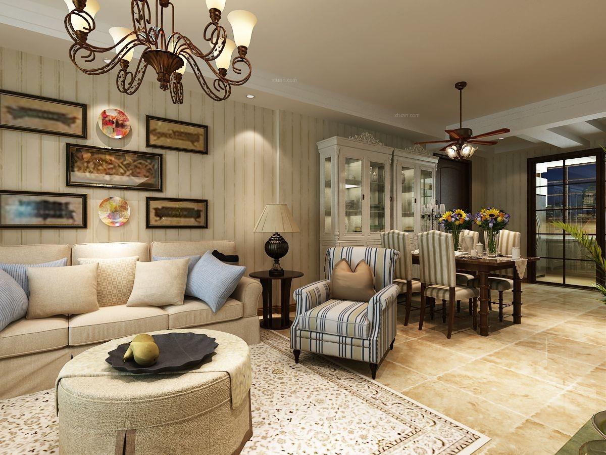 三室两厅美式风格客厅_升龙城装修效果图