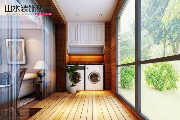 两居室欧式风格阳台_华润凯旋门120平米户型装修效果