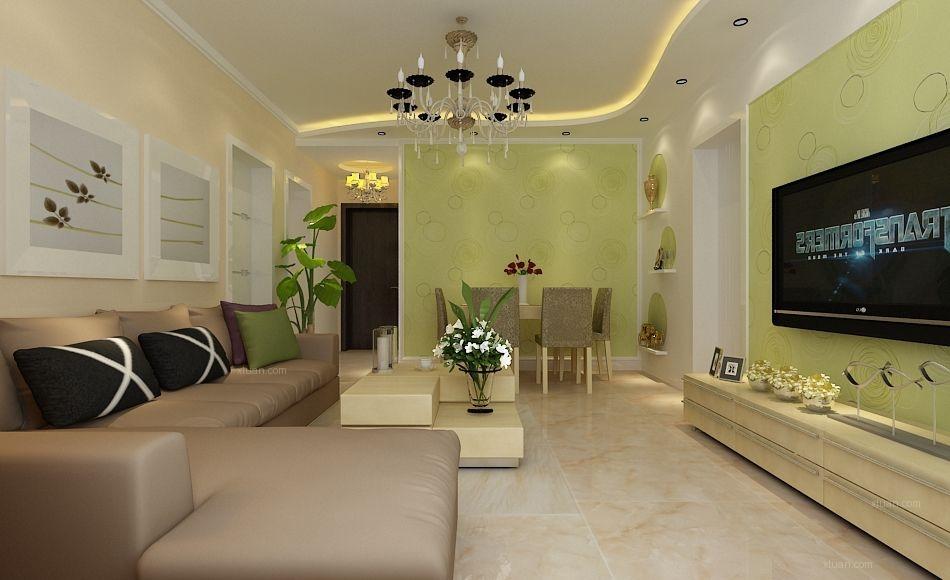 富海澜湾半岛82平米清新嫩绿现代二居室效果图