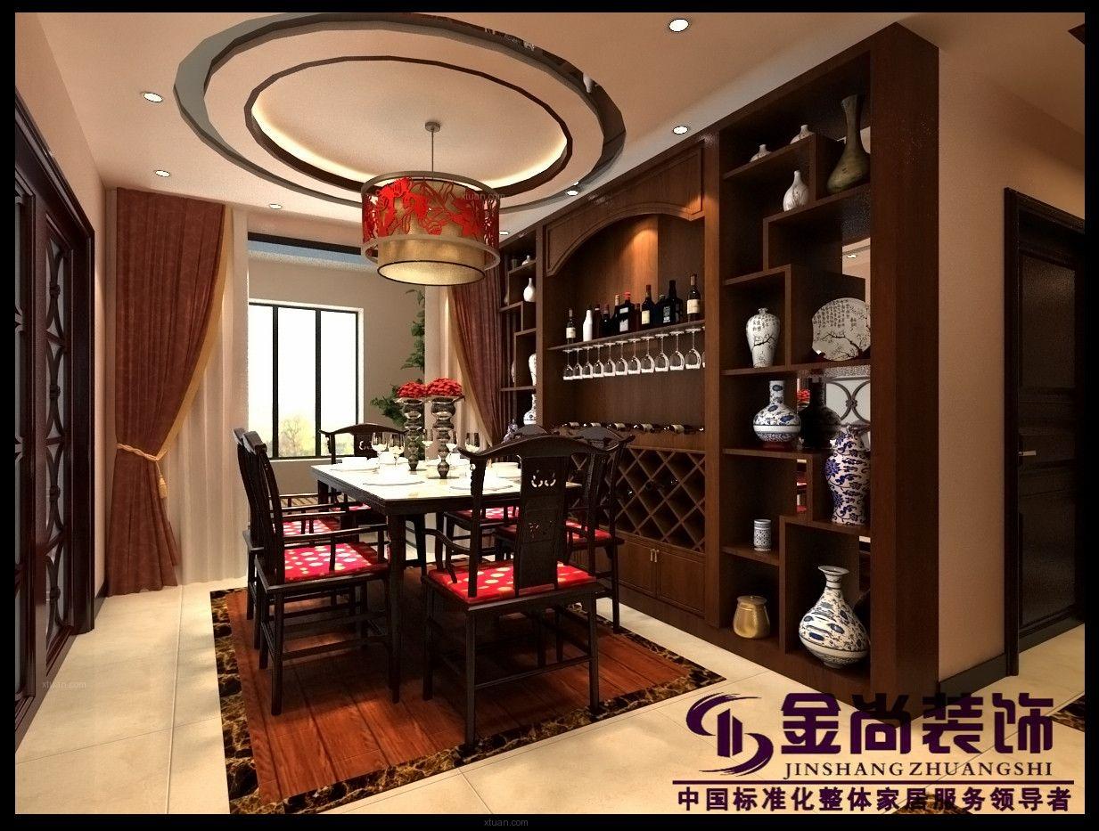 四居室中式风格餐厅圆形吊顶