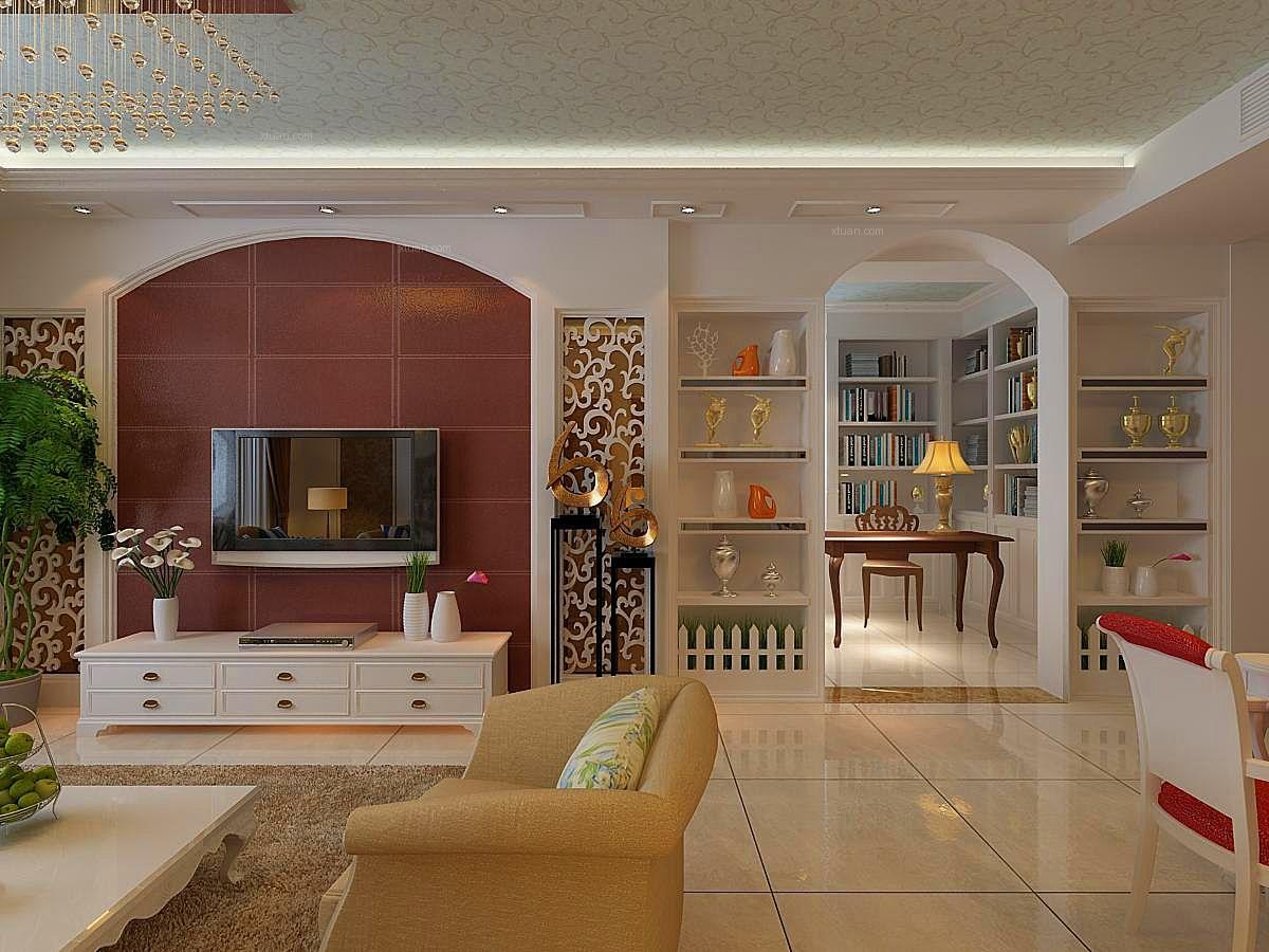 三室两厅韩式风格客厅电视背景墙
