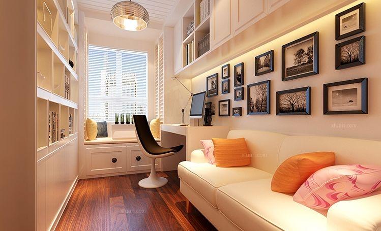 小户型现代简约书房照片墙