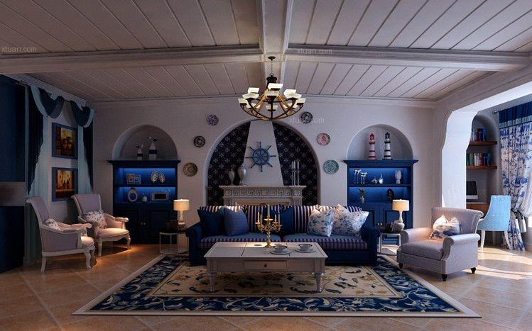 两室两厅地中海风格客厅电视背景墙
