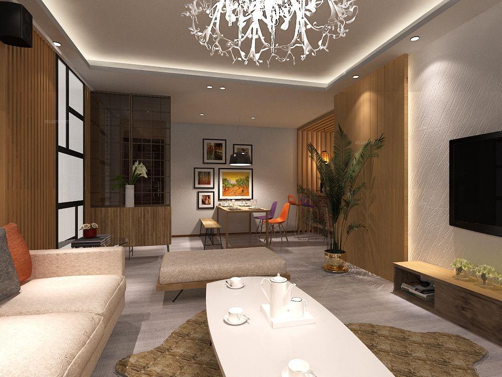 三居室现代简约餐厅客厅隔断