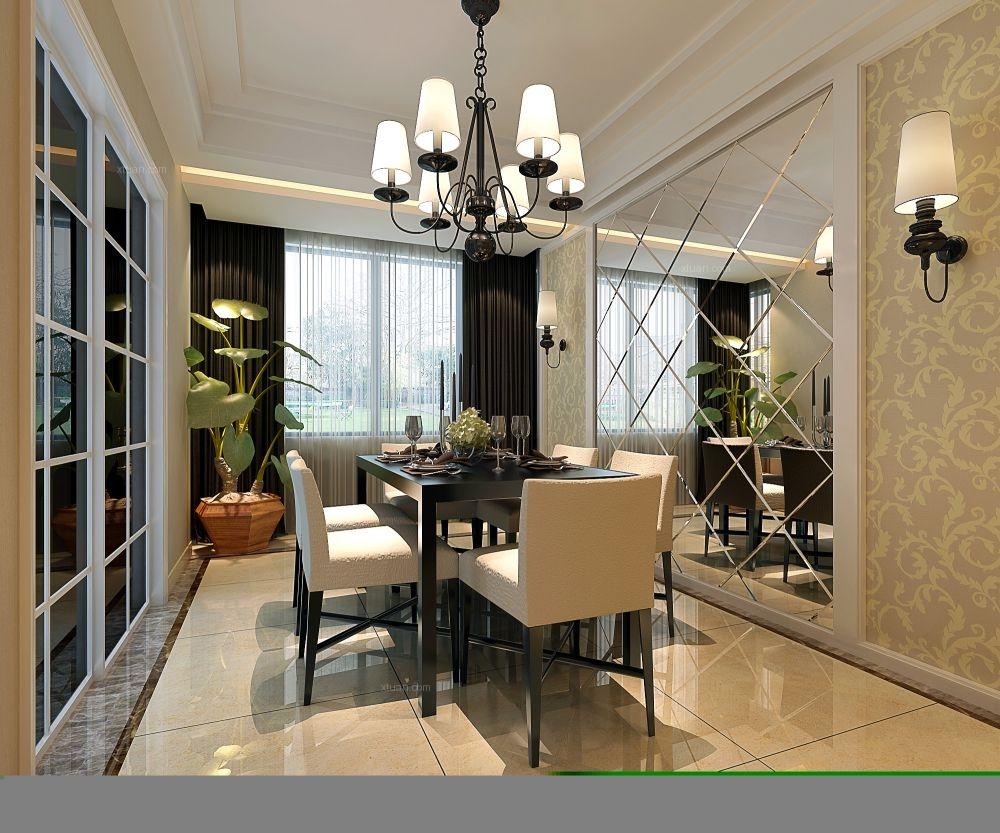 三居室简欧风格餐厅开放式厨房