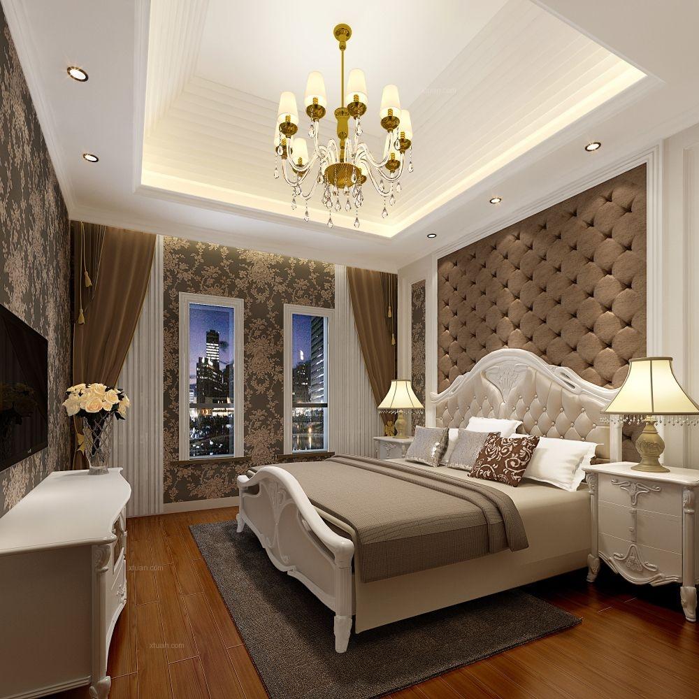 三居室简欧风格卧室电视背景墙