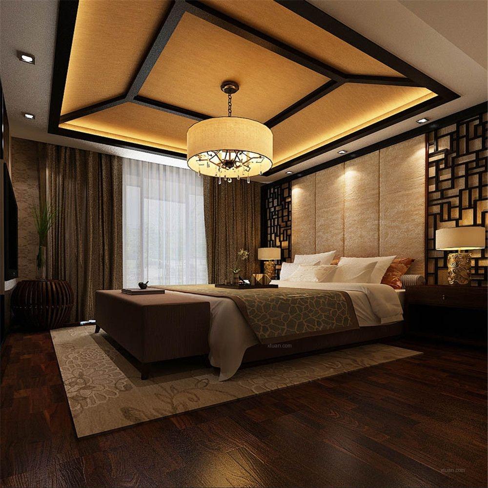 独栋别墅中式风格卧室卧室背景墙