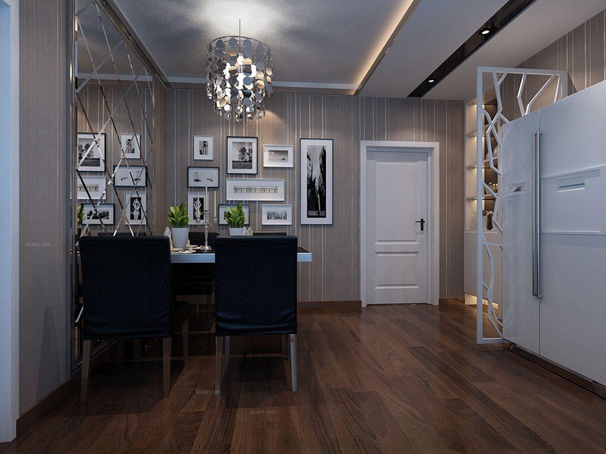 两居室现代风格餐厅墙绘