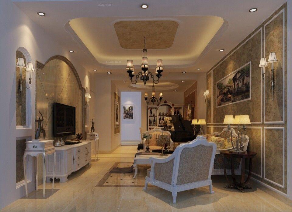 三居室简欧风格客厅_花果园100平简欧实景装修效果图图片
