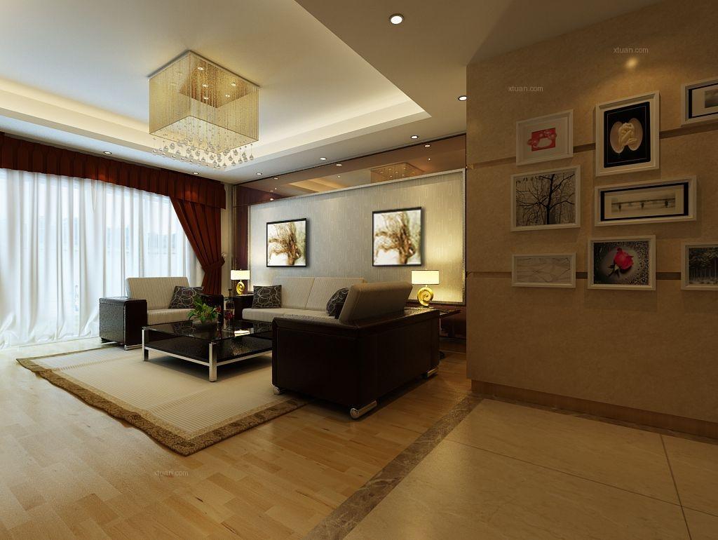 三居室田园风格客厅沙发背景墙_馥邦天下110平装修图