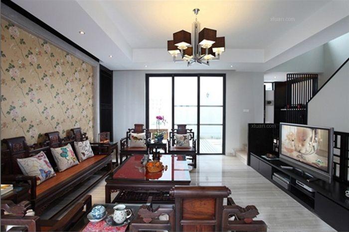 别墅中式风格客厅_禅意空间新中式别墅装修效果图-x团