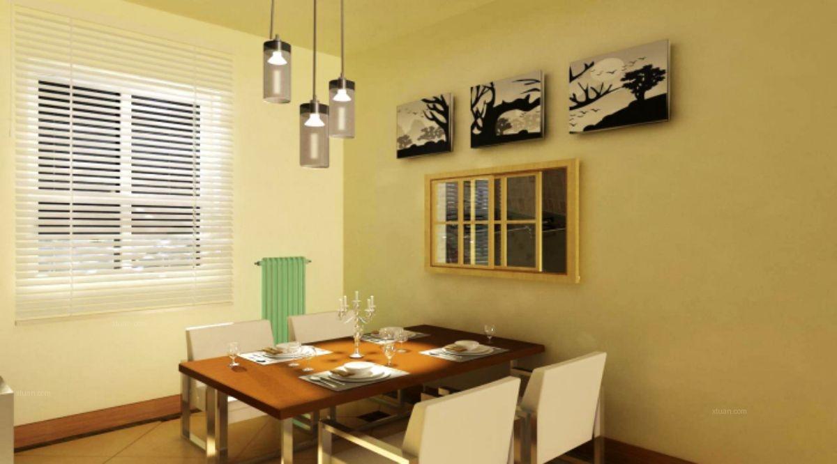 三居室现代简约餐厅墙绘