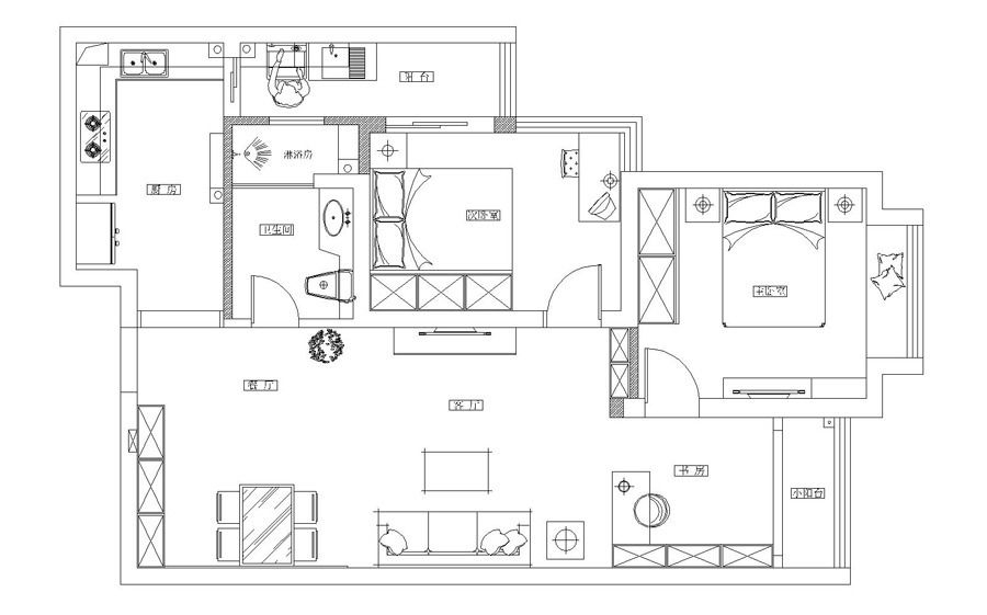 西安家属楼:三居阳光海岸温馨小屋