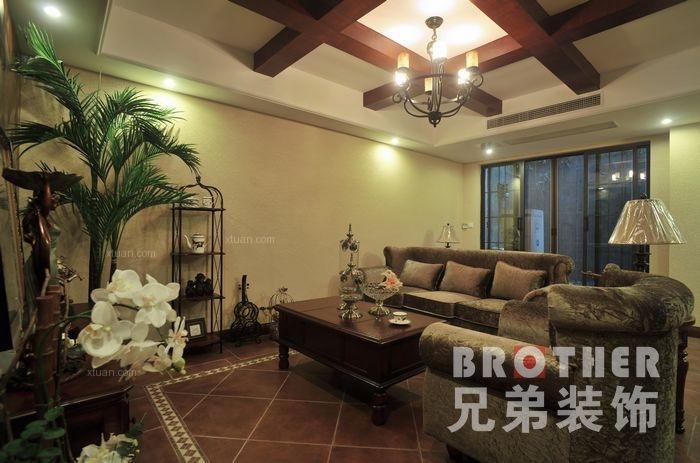 联排别墅美式风格客厅沙发背景墙