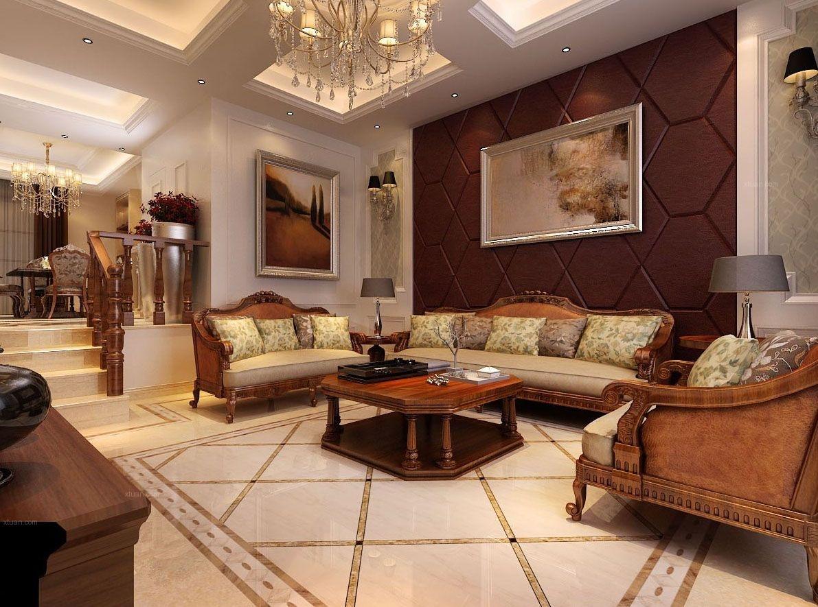 三室两厅新古典客厅沙发背景墙