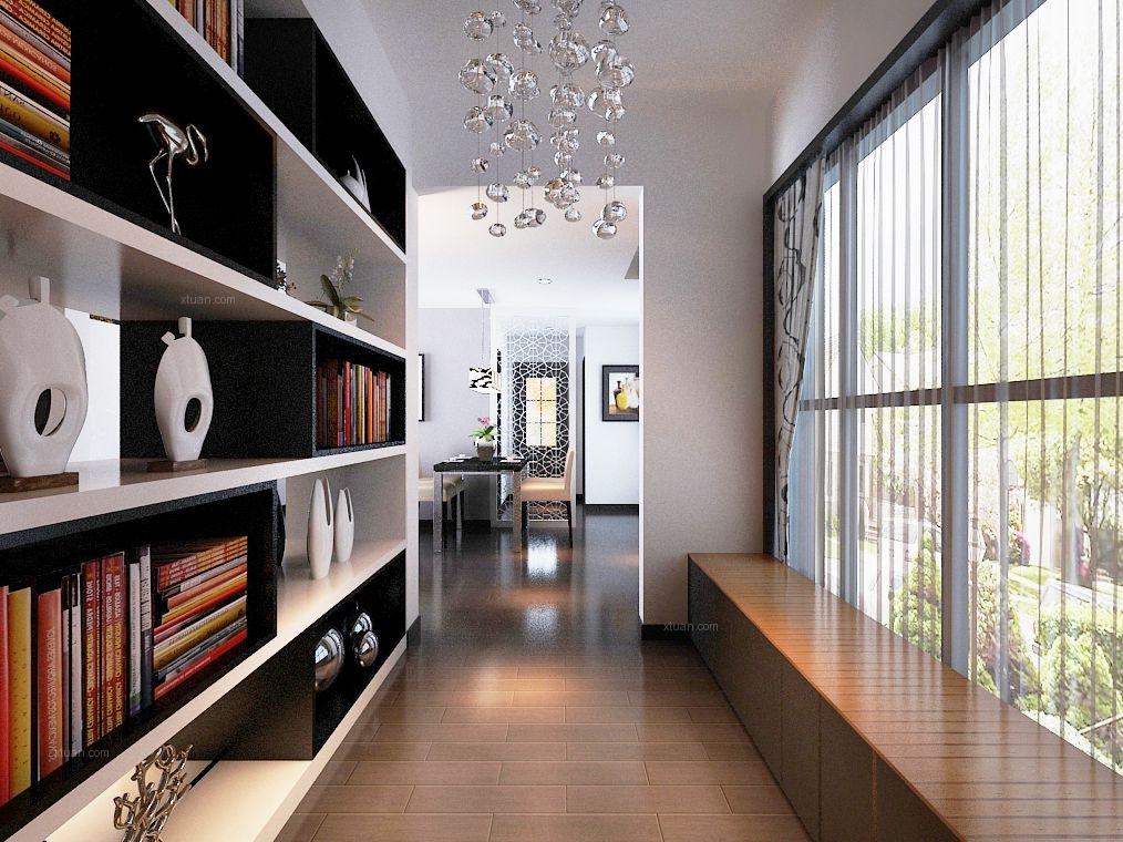 三室兩廳現代風格過道地臺