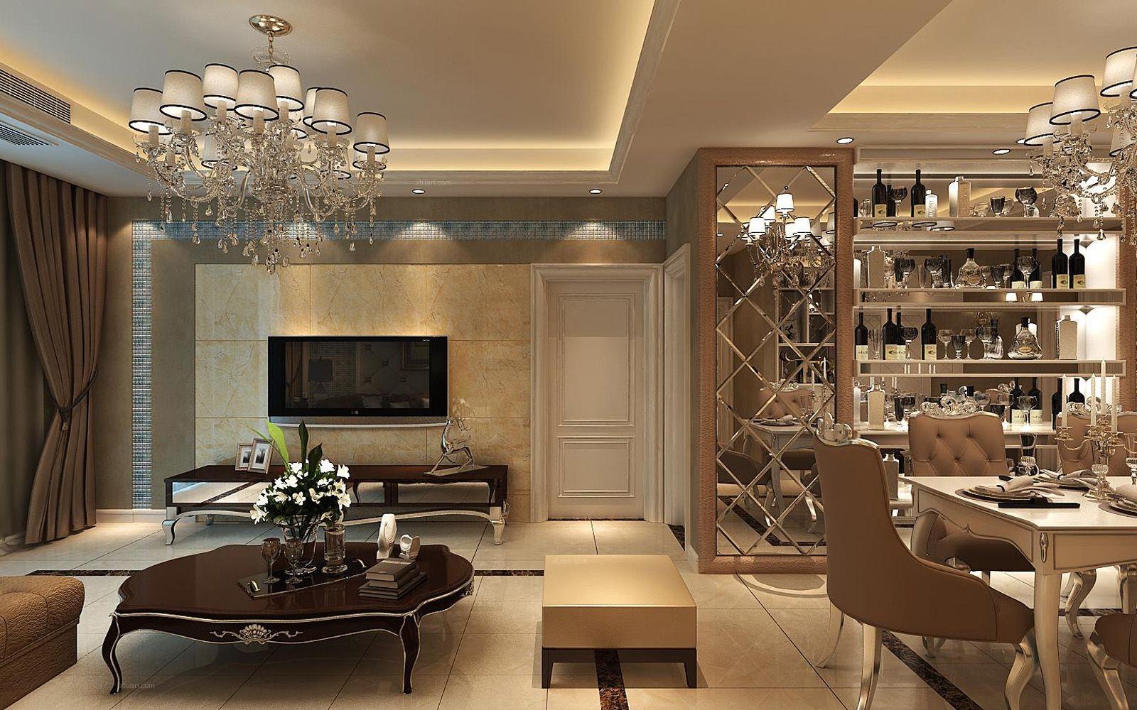复式楼欧式风格餐厅开放式厨房图片