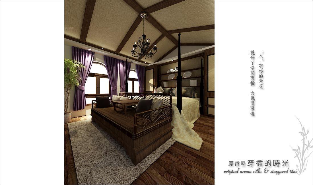 复式楼中式风格客厅_原香墅--穿插的时光装修效果图-x图片