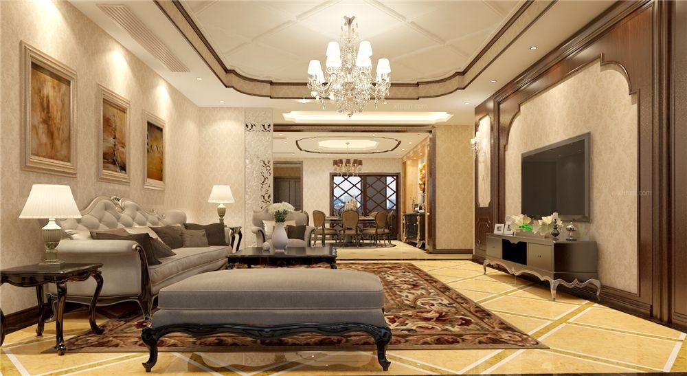 东郊半岛别墅欧式新古典风格设计装修效果图